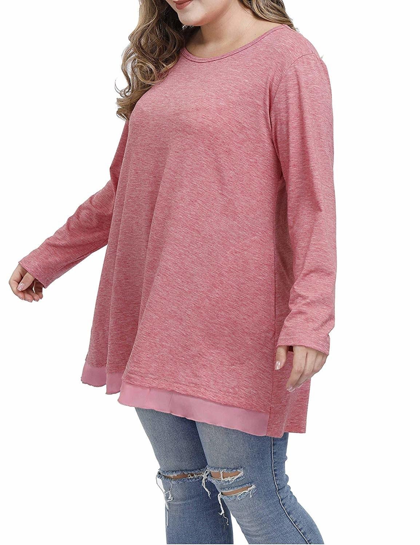model wears long sleeve top with silk-like material hem