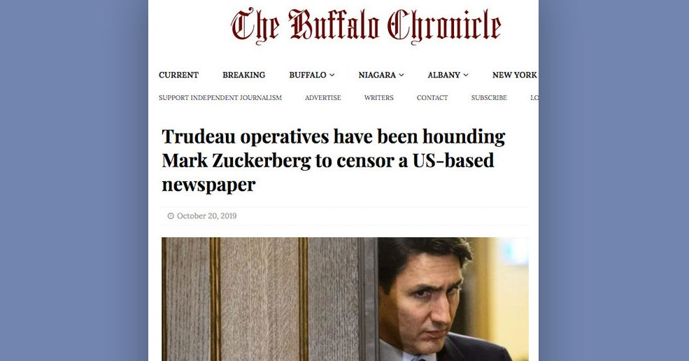 Facebook Let The Buffalo Chronicle Run Ads For its Dubious Trudeau Stories