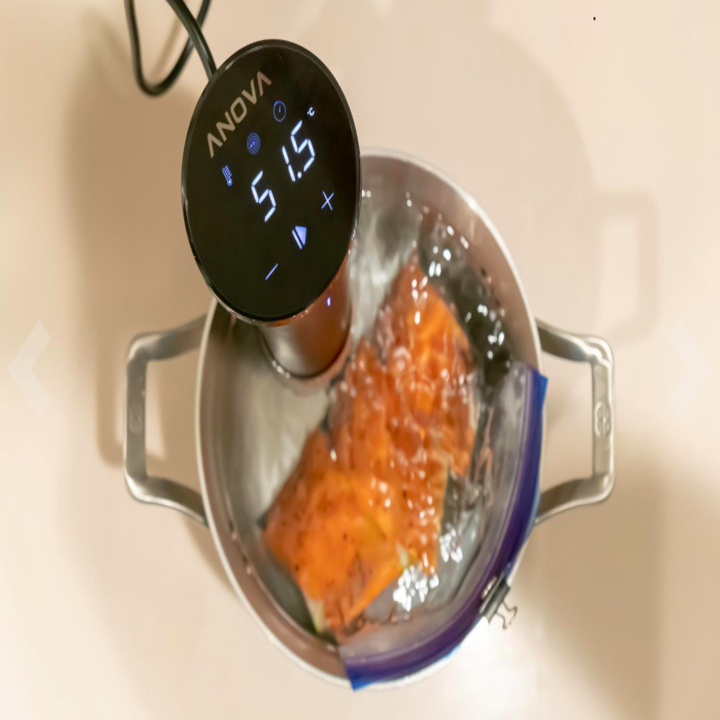 The sous vide cooker being used by a reviewer