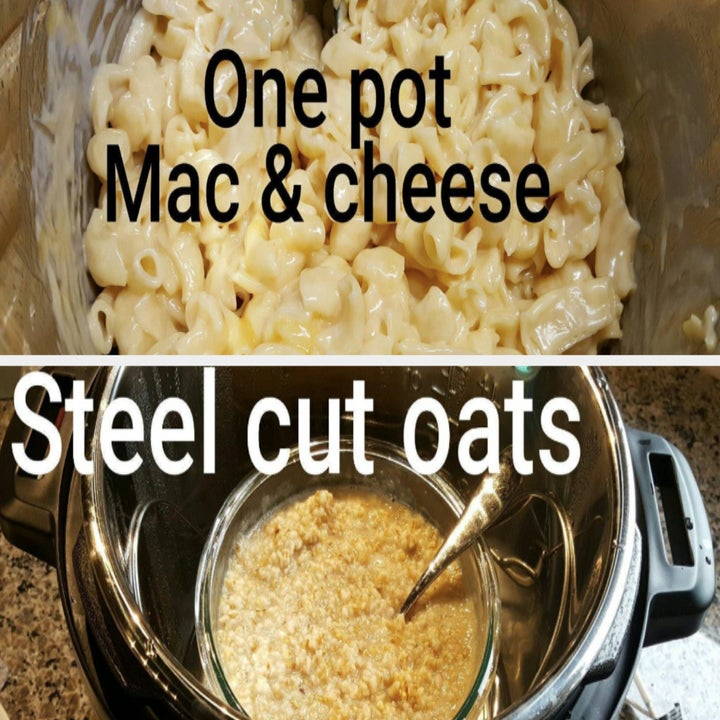 Reviewer images of one pot mac & cheese and steel cut oats made in the Instant pot