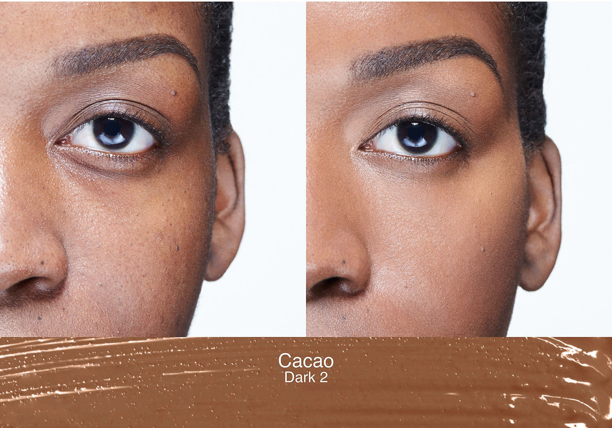 A model with dark circles and uneven skin on the left, the same model on the right with no dark circles and evened out skin