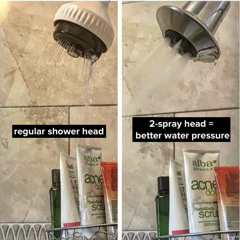 Before/after image of reviewer's shower head. The new shower head shows significant increase in water pressure.