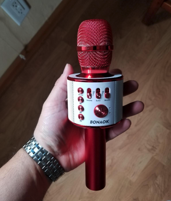 Reviewer holding mic in red
