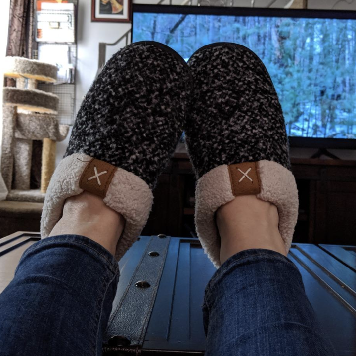reviewer pic of wearing the slippers