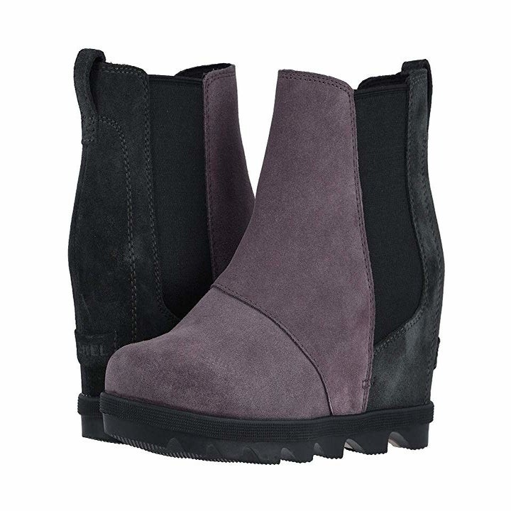 the wedge shoes in purple suede