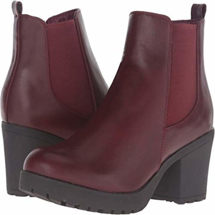 the shoes in burgundy