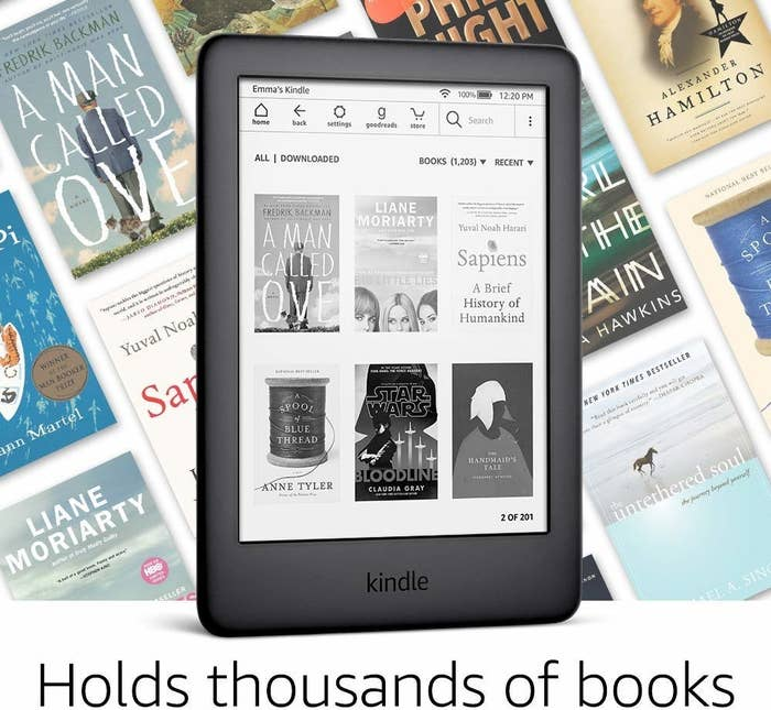 "The black kindle with text ""holds thousands of books"""