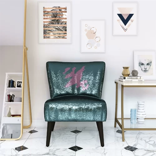 green sequin chair with pink streak where someone pet it