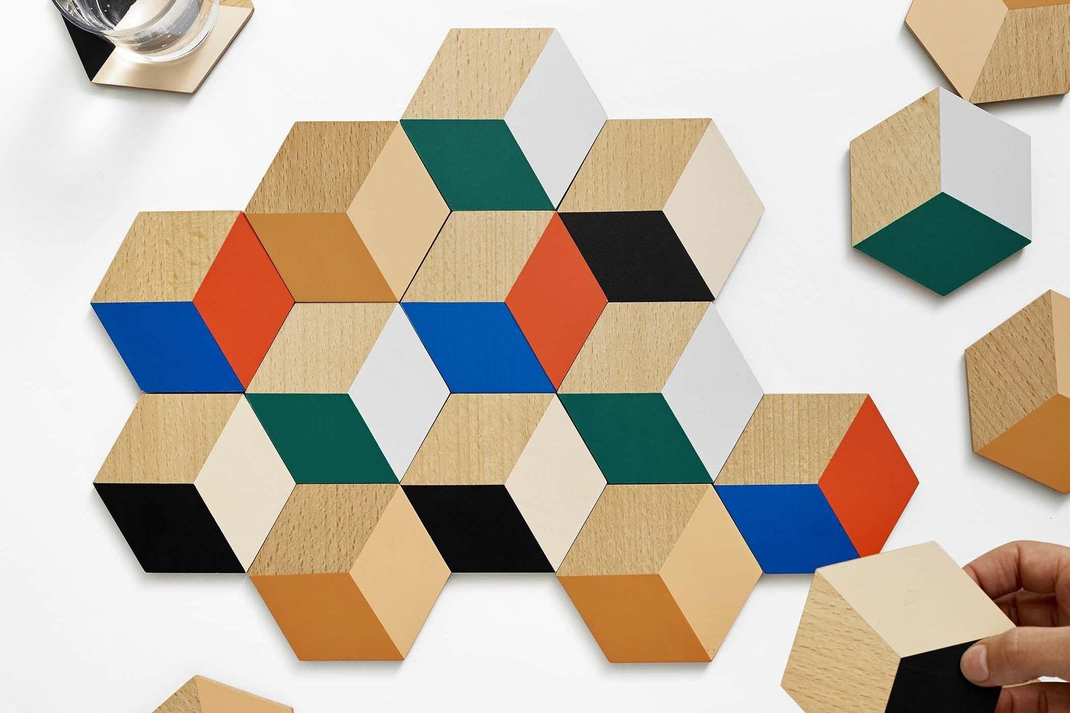 Geometric coasters set up