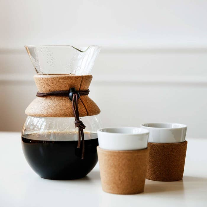 A glass carafe filled with coffee