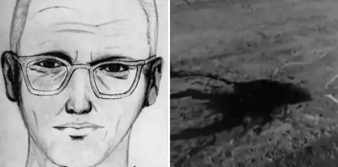 A police sketch of what they think the Zodiac Killer looks like, plus a photo of an open field