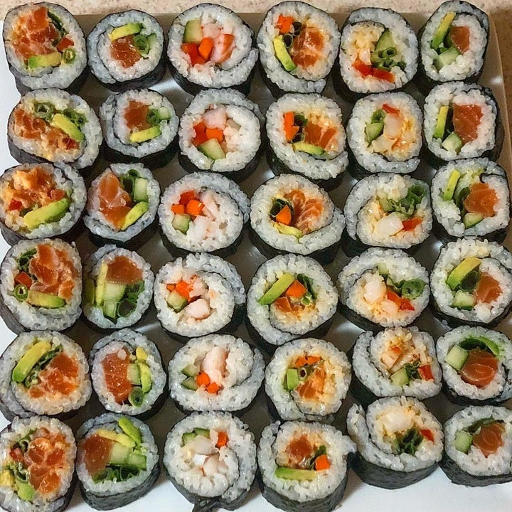 Reviewer image of a bunch of sushi rolls made with the  kit