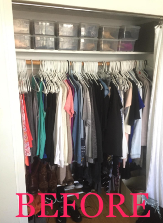 a reviewer's before photo of their filled closet