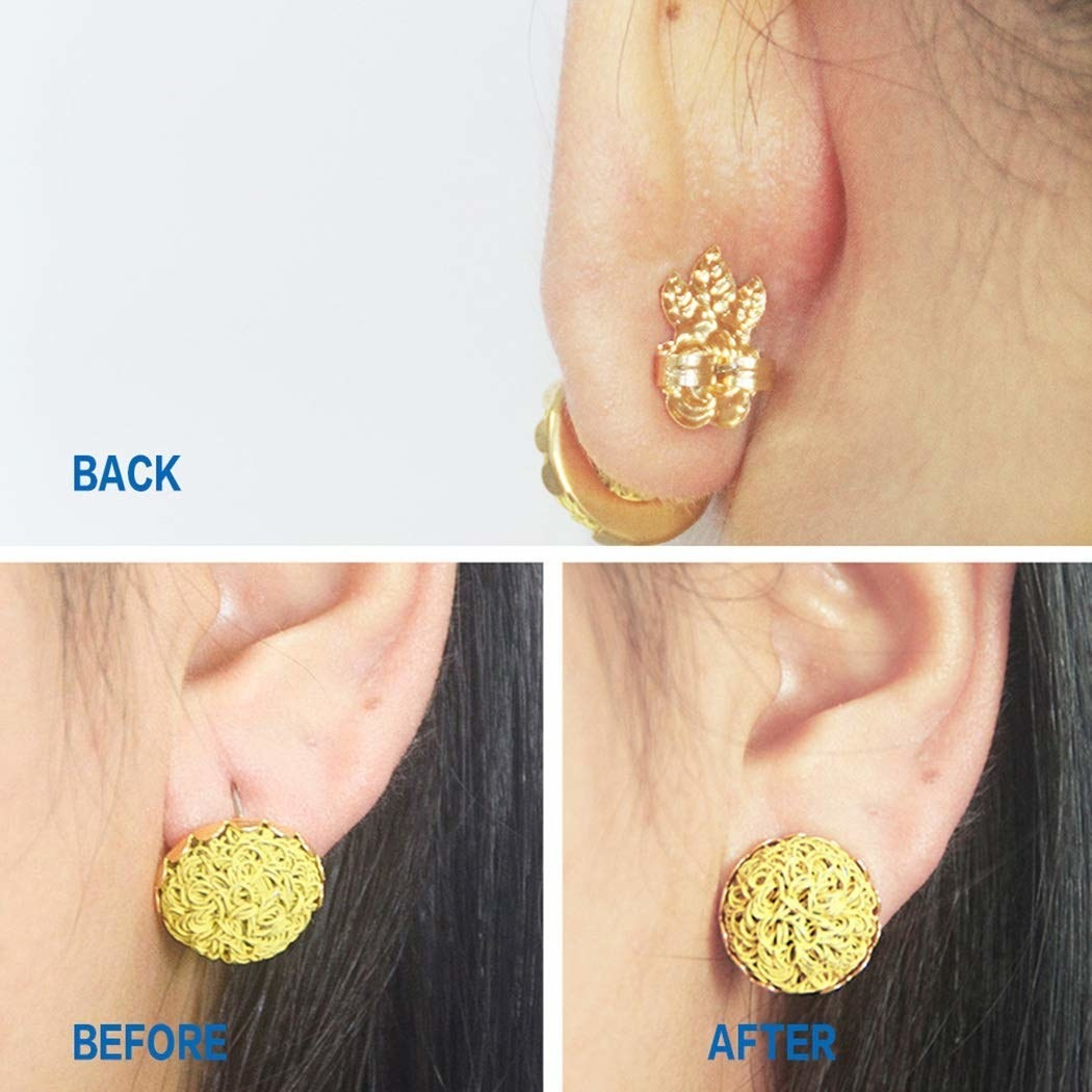A before and after photo of the earring lifters.