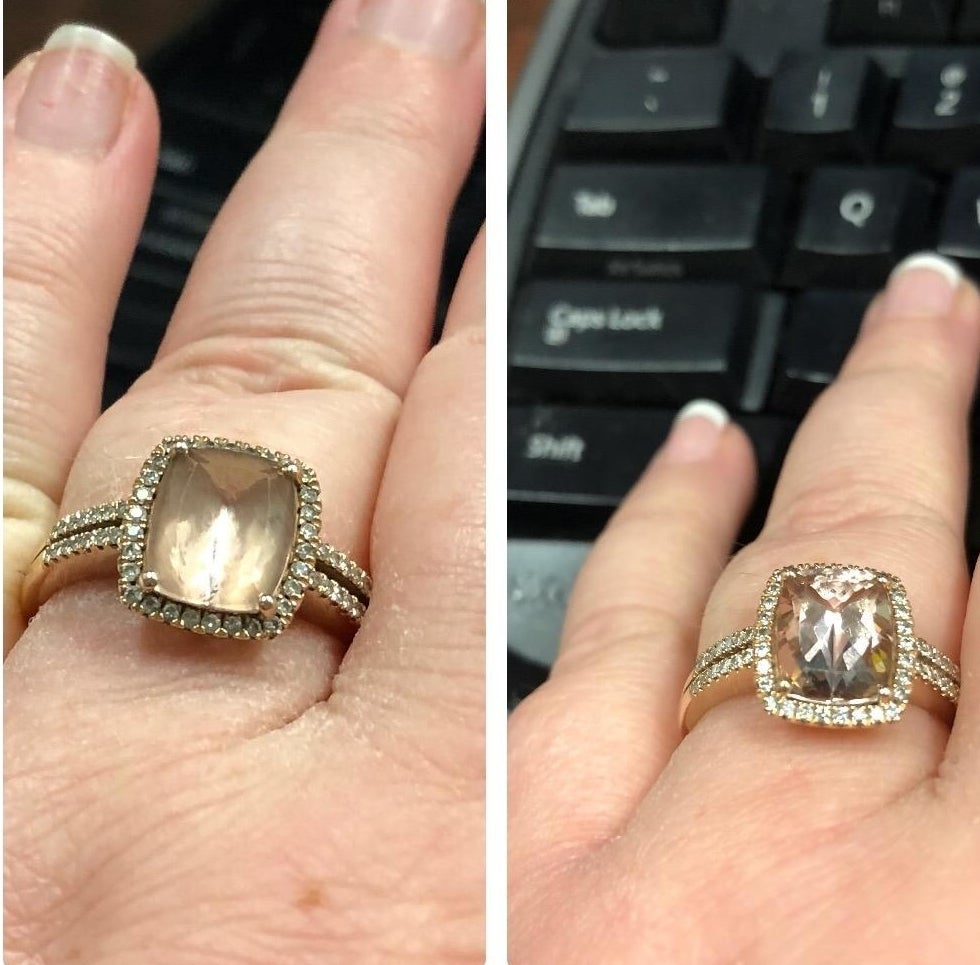 left: cloudy looking ring right: same ring but less cloudy