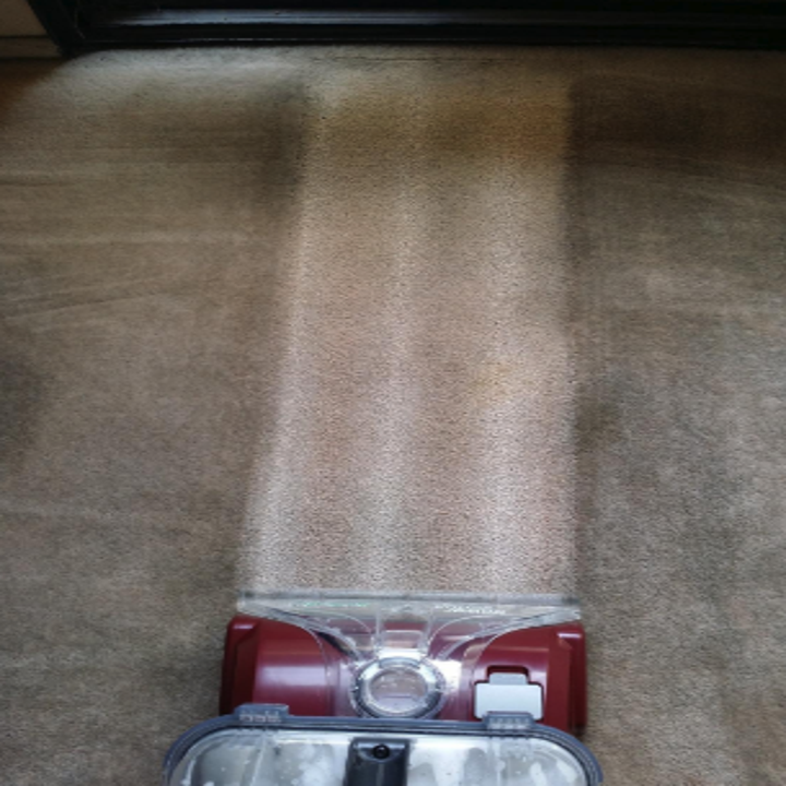 a reviewer showing how clean their carpet looks while using the cleaner