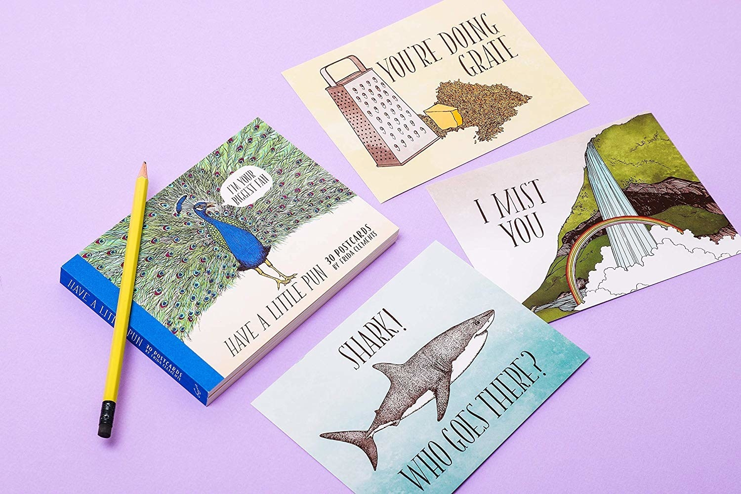 """Booklet of greeting cards with random illustrations and puns. A cheese grater says """"you're doing grate"""" a waterfall says """"i mist you"""" and a shark says """"shark! who goes there?"""""""