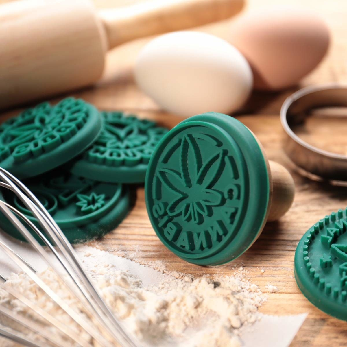 Rubber stamps with cannabis-themed designs