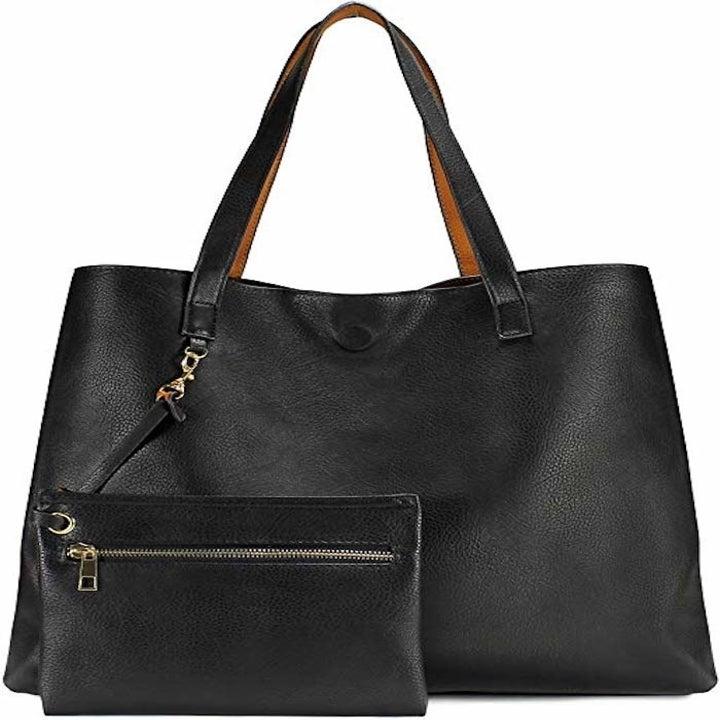 black tote bag and wristlet