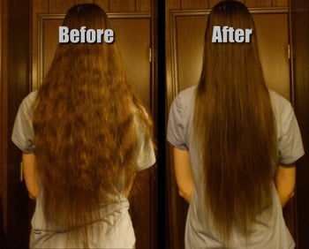 Reviewer before and after showing the mask smoothed and reduced frizziness of their waist-length hair