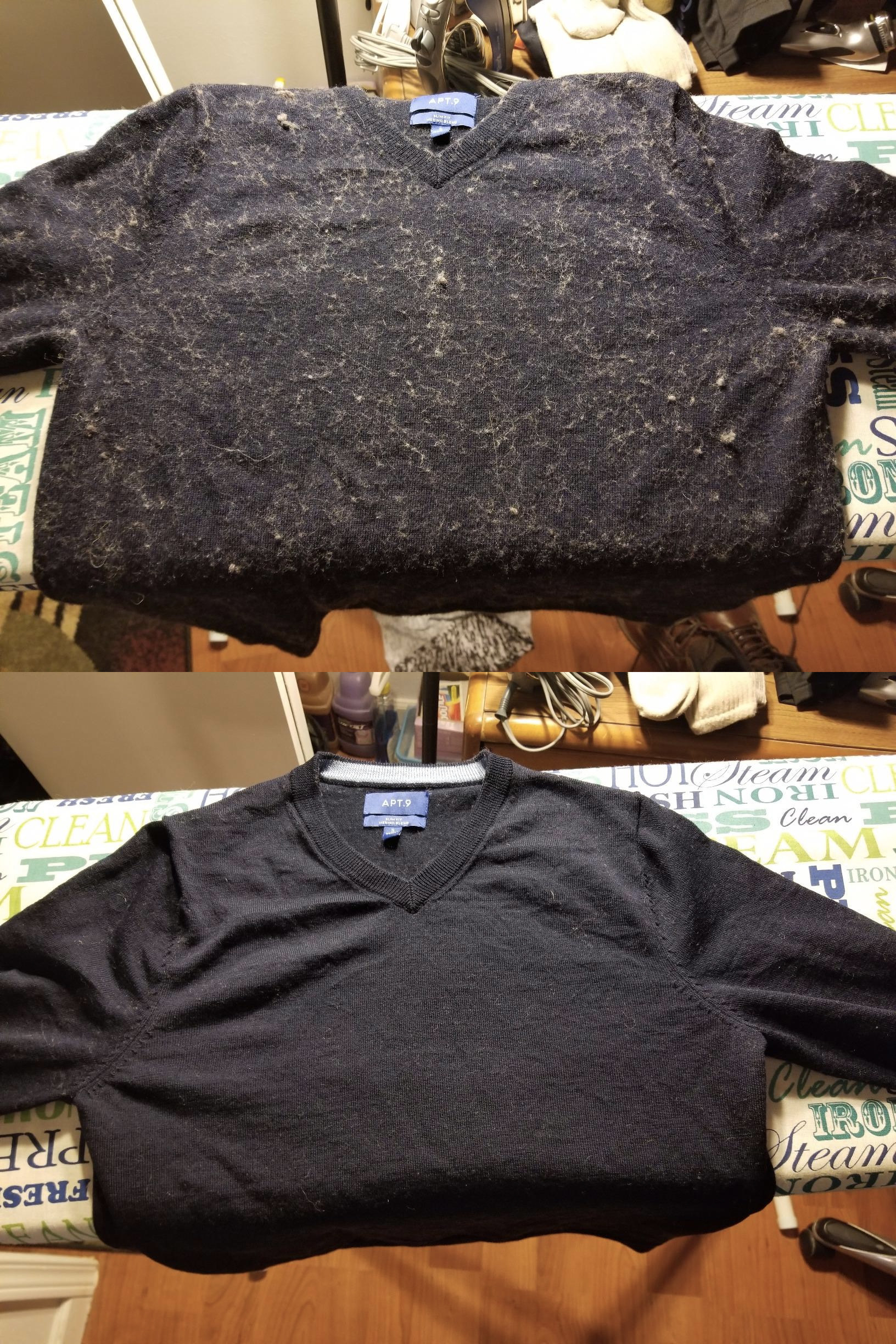 Before: a reviewer's navy sweater covered in grey-ish pills and fuzz; After: the same sweater, now looking brand new with no pills or fuzz in sight