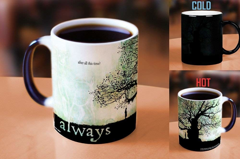 the mug with before and after photos in which it's black when cold but reveals an image when hot