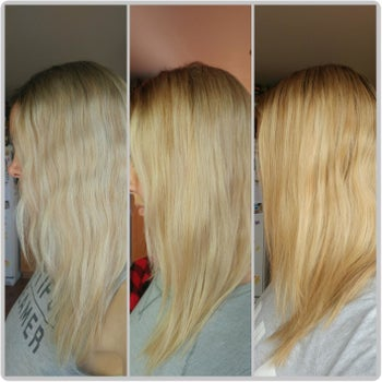 Another reviewer's progression photos showing the shampoo removed the yellow brassiness from their blonde hair