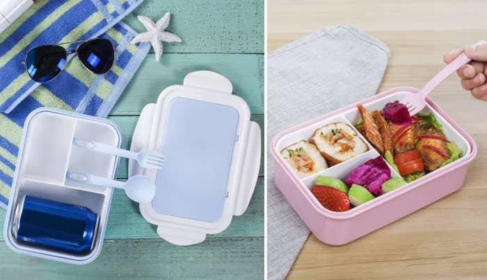 Two bento boxes in pastel blue and pink with three compartments for food and matching utensils