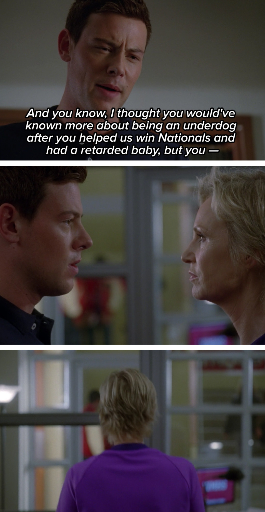 """Finn says, """"You know, I thought you would have known more about being an underdog after you helped us win Nationals and had a retarded baby, but you—"""""""