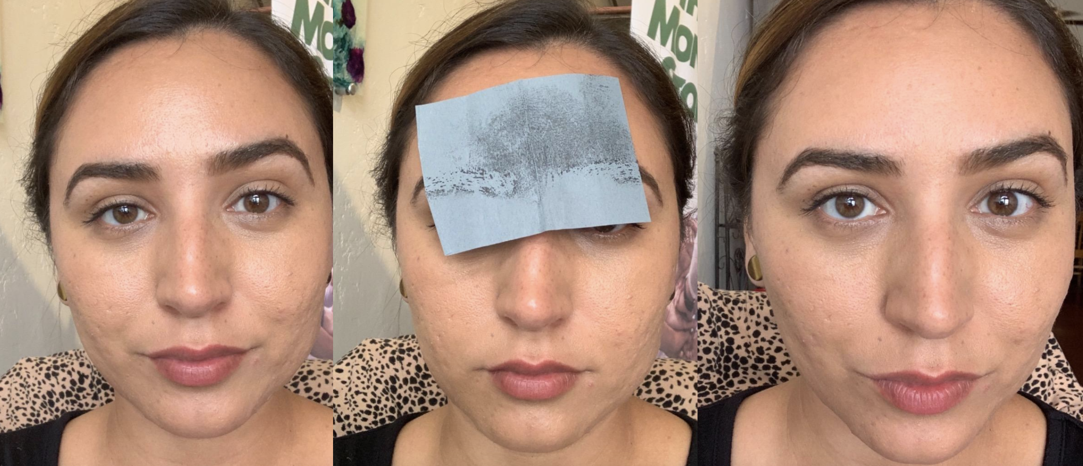 a reviewer with shiny skin, using the blotting sheet on forehead, then matte skin after