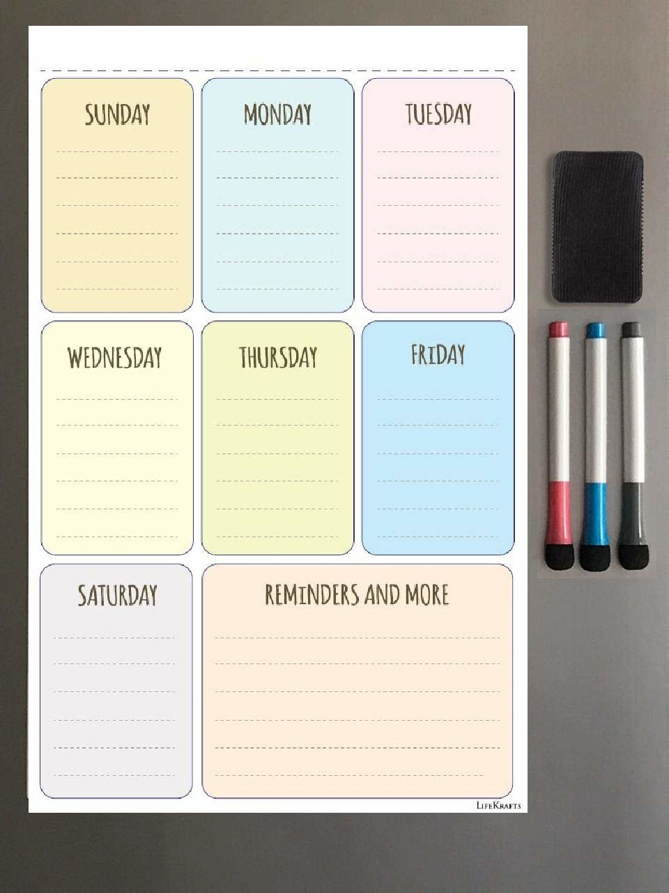 A meal planner with separate boxes for all days of the week and a reminders and notes box.