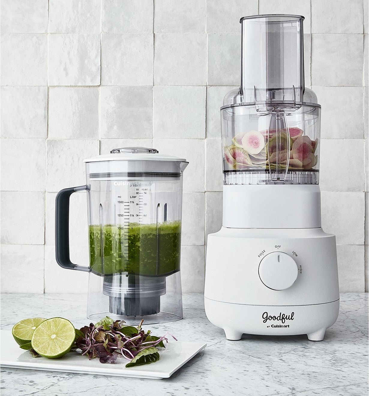 The white food processor and the blender next to it