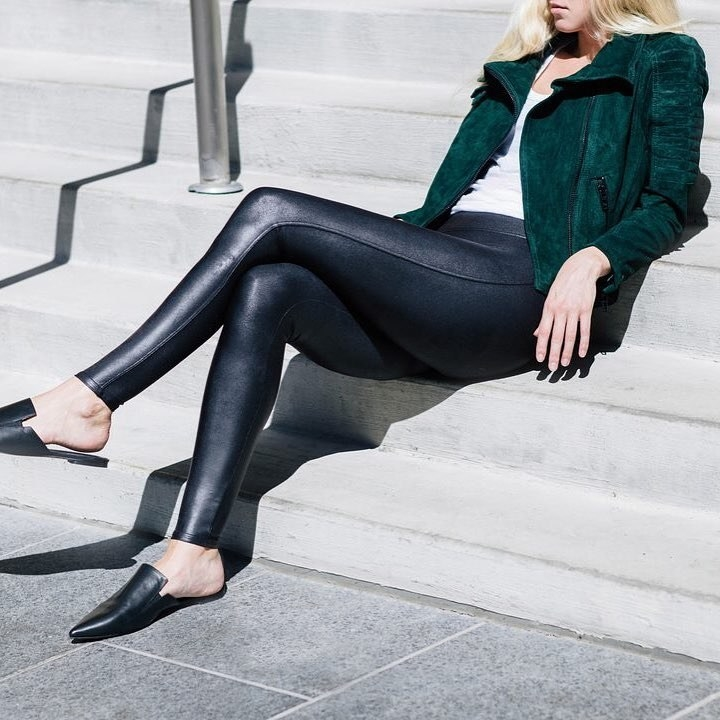 a model in the faux leather leggings