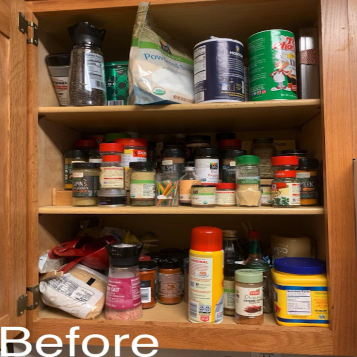 a stocked cabinet without the shelf organizer