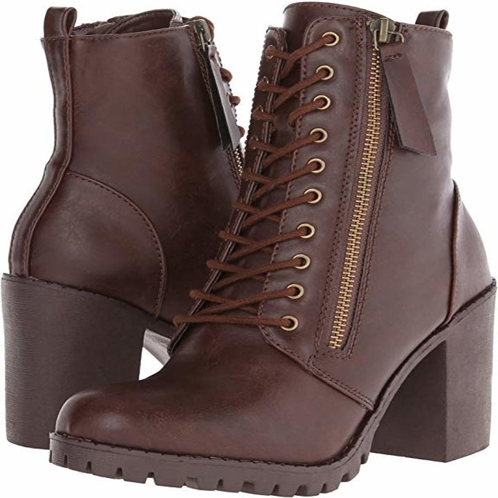 tall lace up combat boots with a zipper on the side