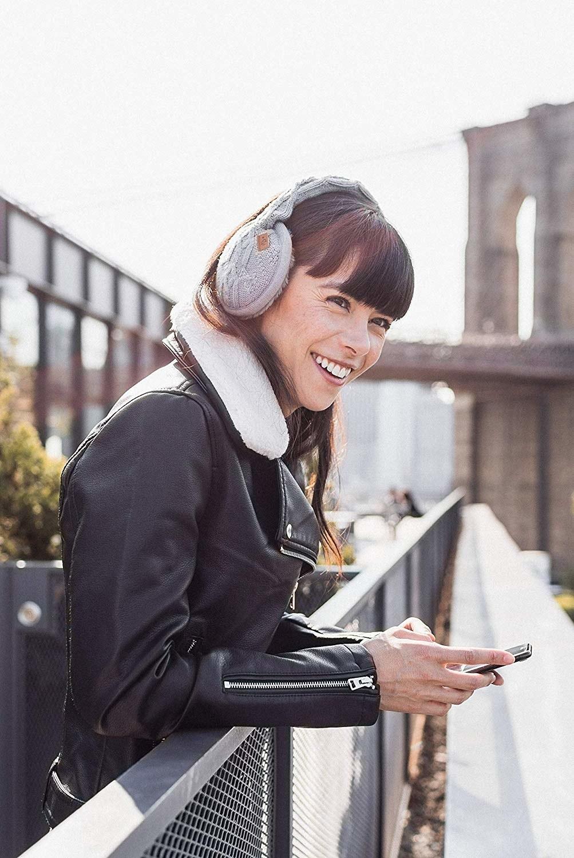 Model wearing gray knit headphones