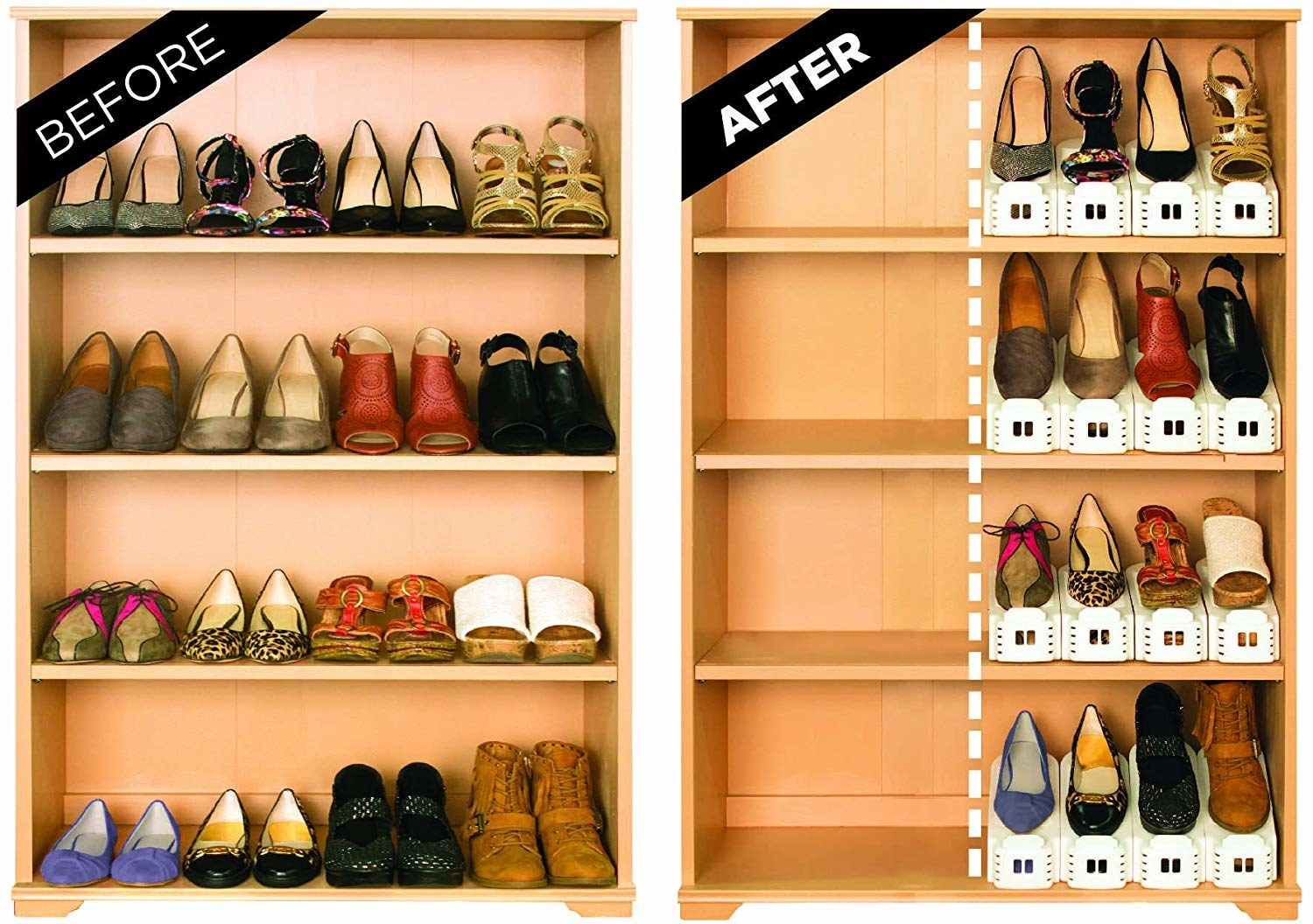 before pic of shoes on open shelves and then the stackers taking up far less room on the shelves