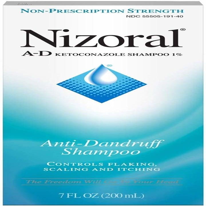 The bottle of anti-dandruff shampoo