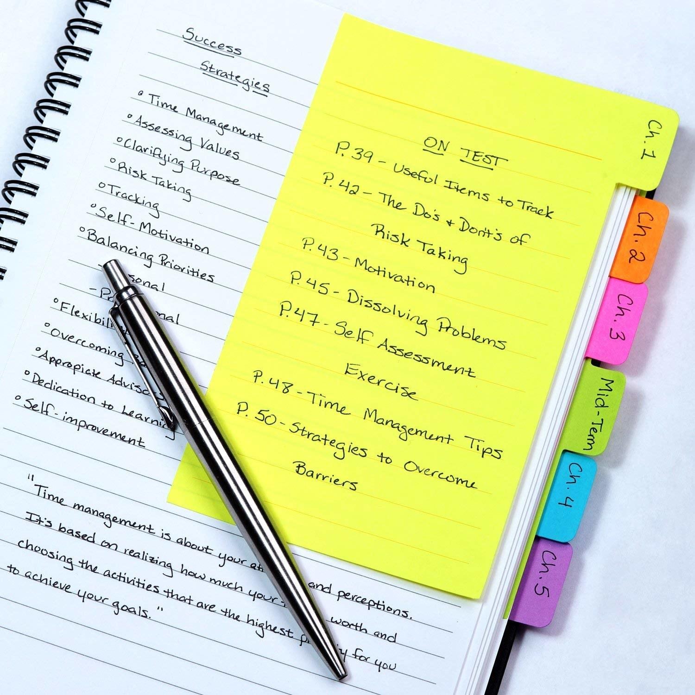 One of the sticky notes inside a notebook