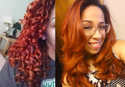 A customer review photo of their hair before and after using the airbrush.