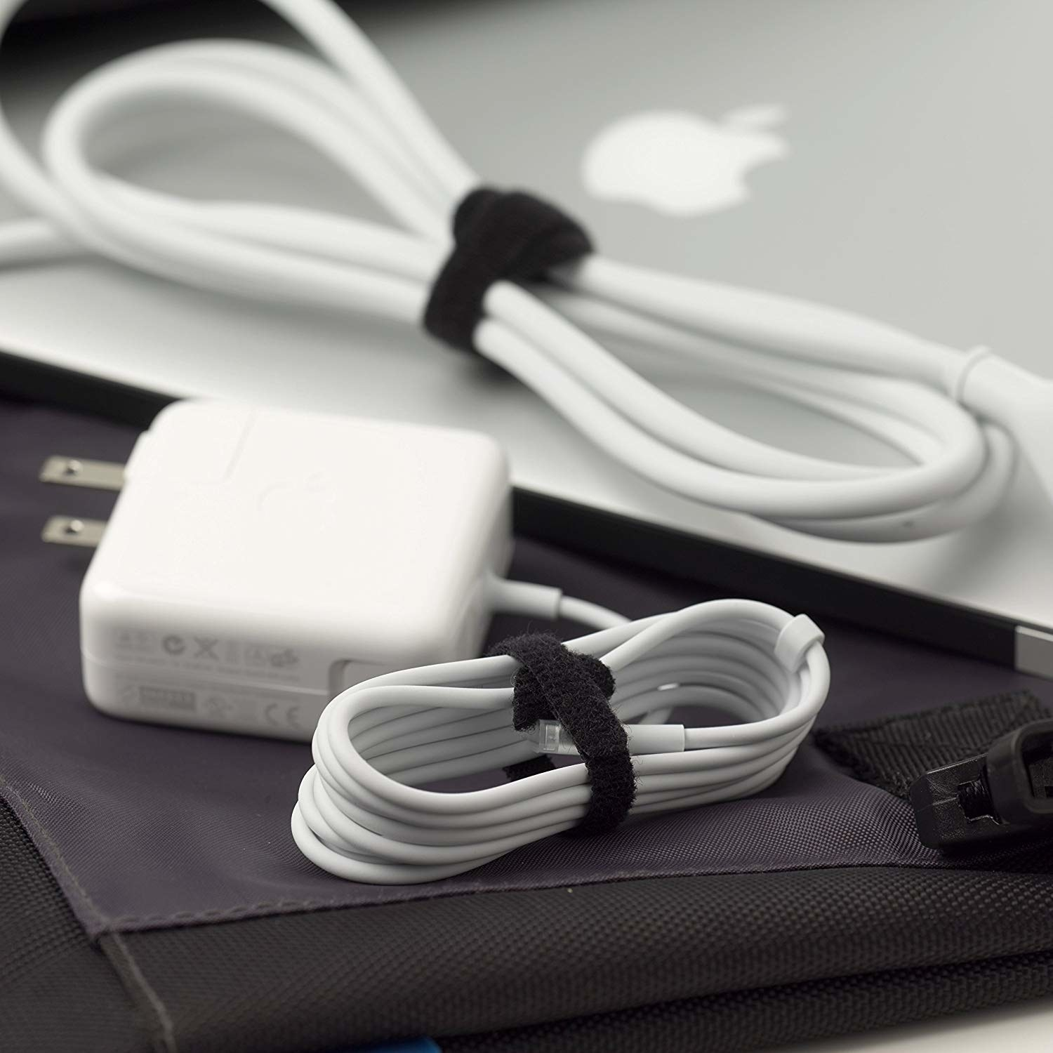 Velcro cord ties keeping charging wires neatly organized
