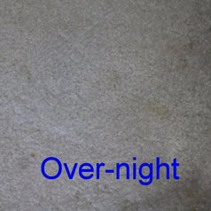 Same reviewer's photo showing that leaving the pads on the stain overnight removed almost all traces of the stains