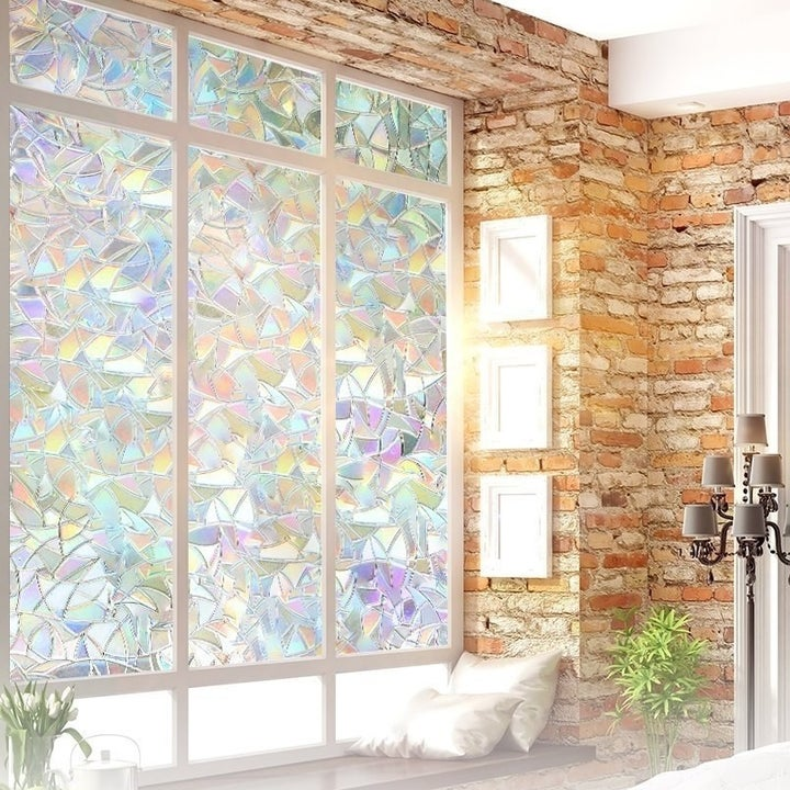 the window film on windows giving a rainbow light effect