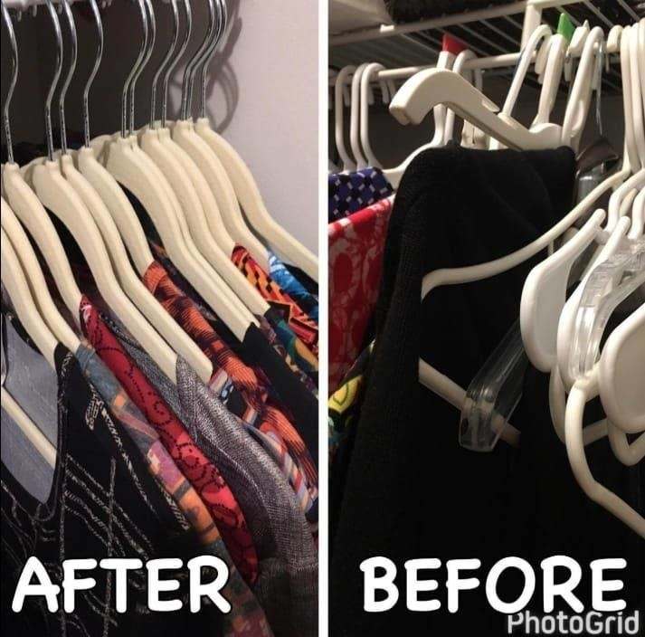 """on the left clothes neatly on the velvet hangers labeled """"after,"""" on the right the same closet labeled """"before"""" with various hangers overlapping and messy"""