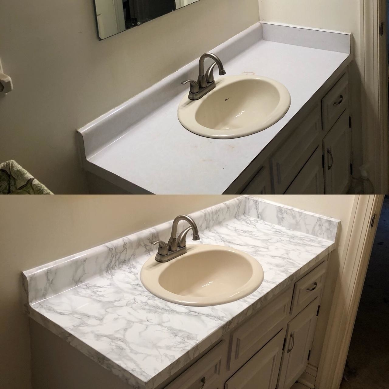 on top a reviewer's plain bathroom counter, on the bottom the same counter covered in marble film