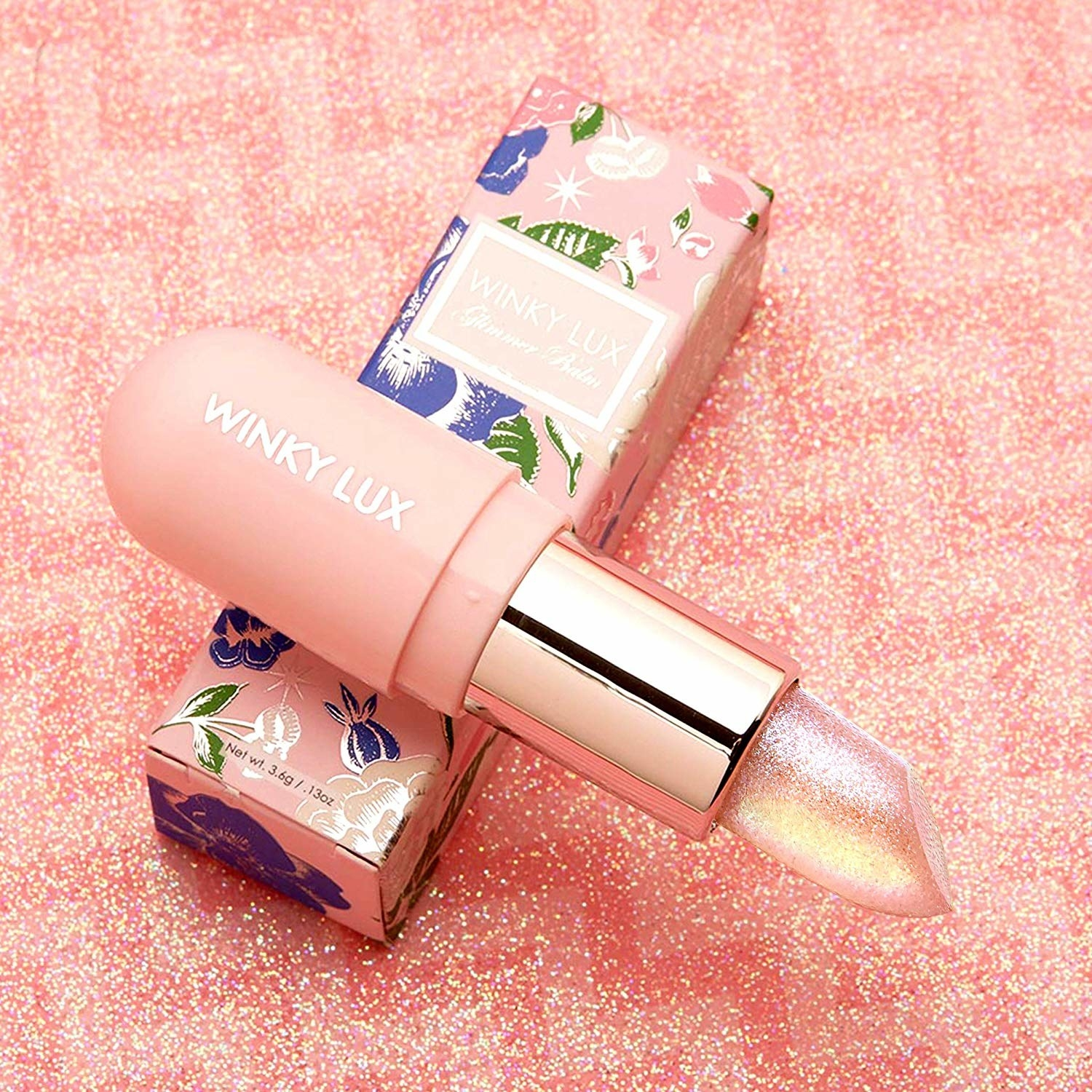 The lipstick with a sparkly light pink color