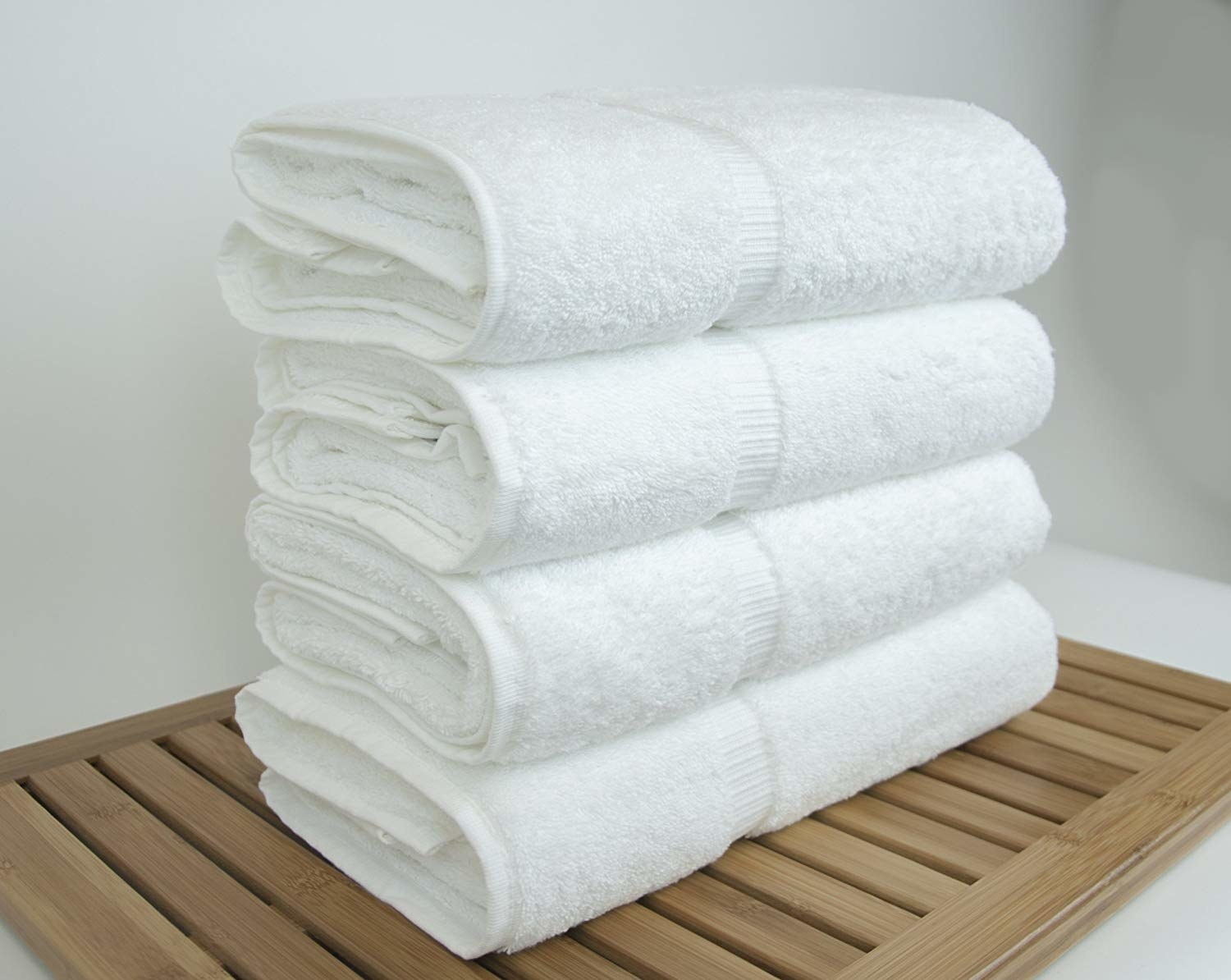 A stack of the towels in white