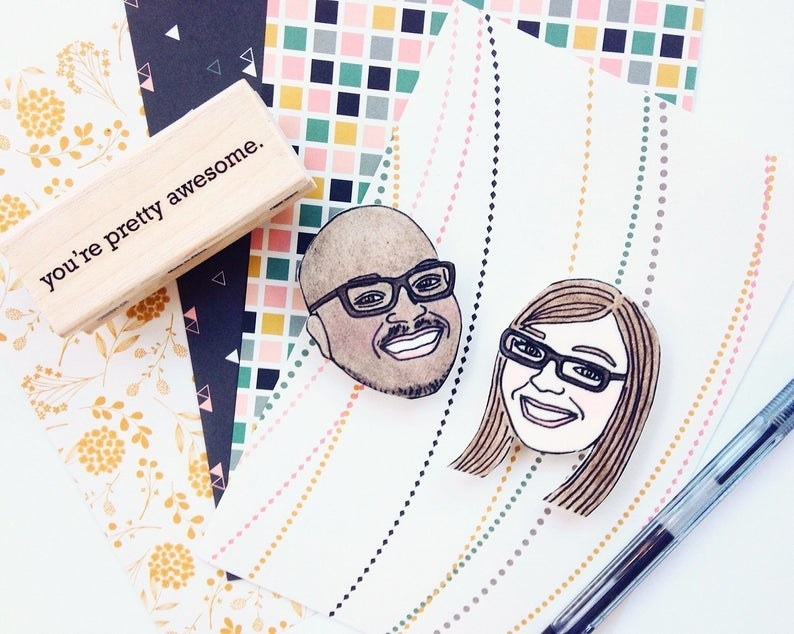 Illustrated magnets of two peoples' faces