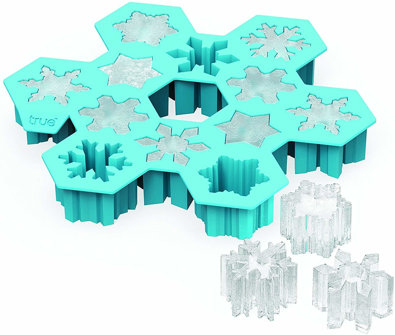 A snowflake-shaped ice cube tray producing small snowflake-shaped ice cubes