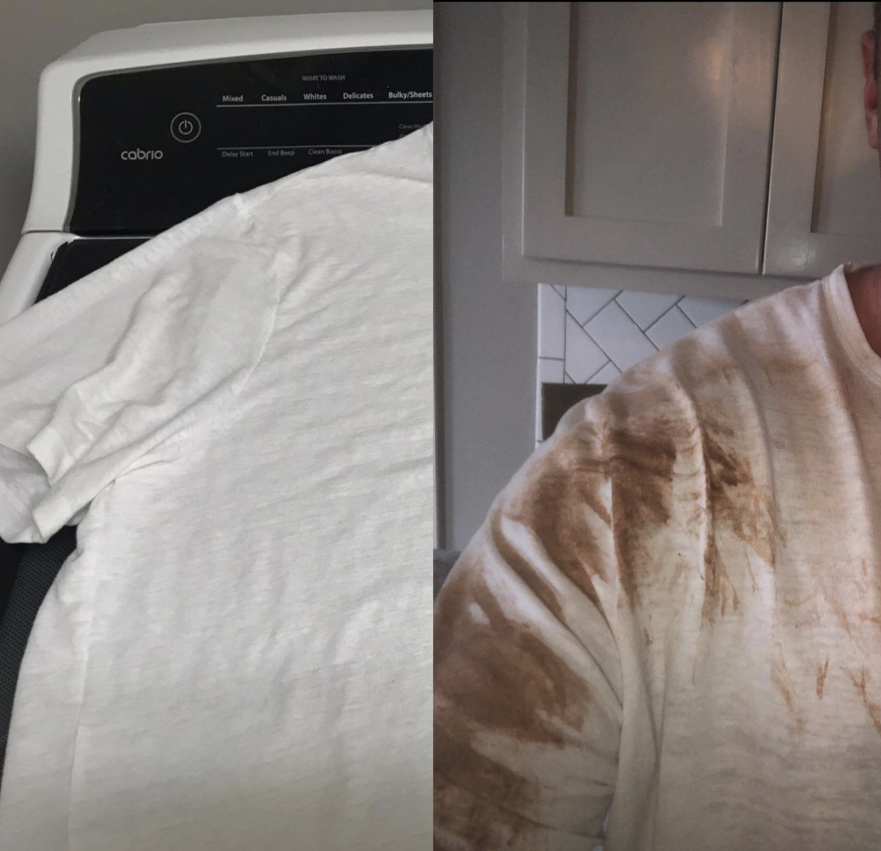 Before/after pic of a reviewers shirt covered in mud, and an after pic of the same shirt with all the stains removed